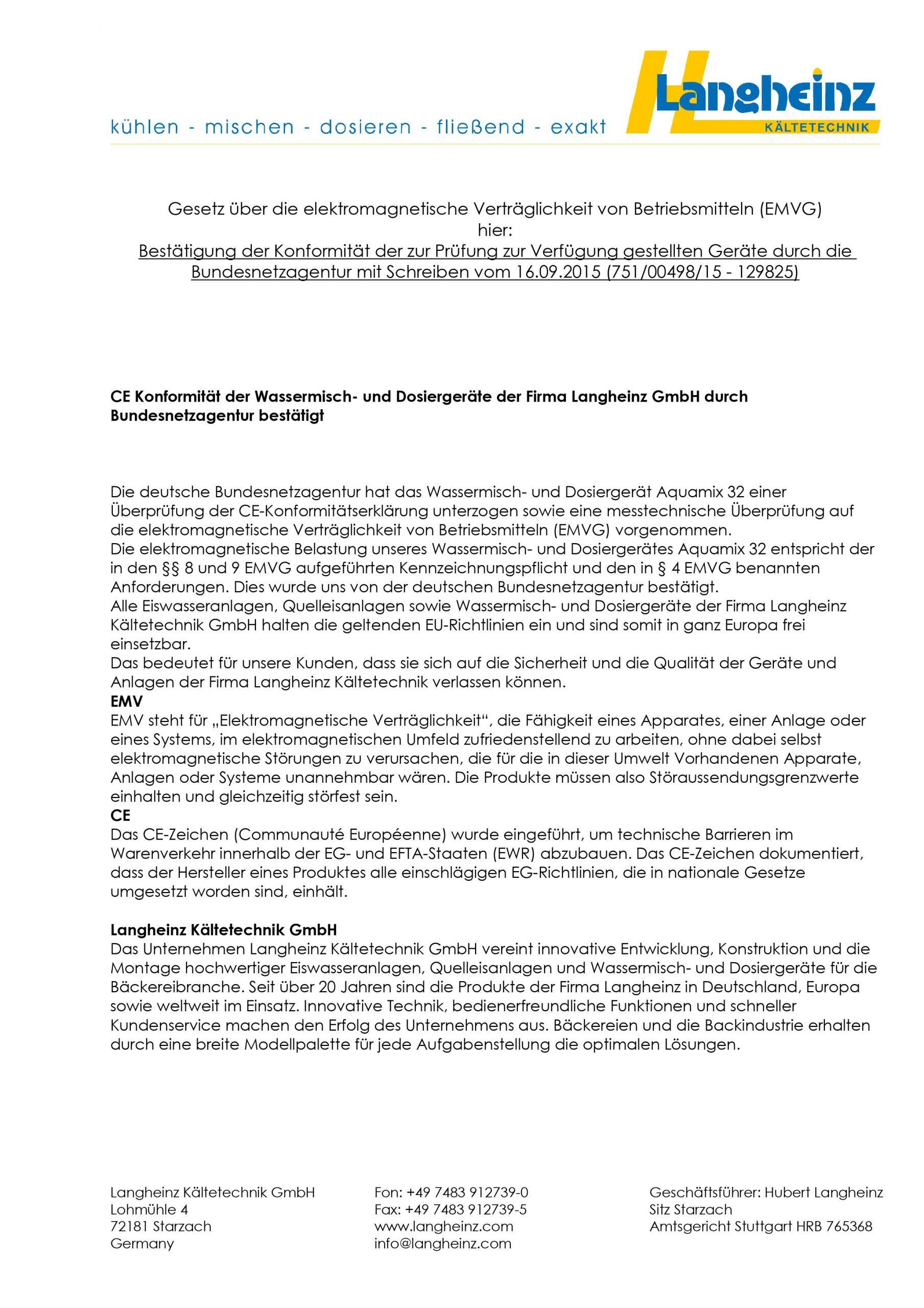 """Preview des Zertifikates """"CE Konformität"""" der Langheinz Kältetechnik GmbH"""